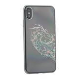 Чехол-накладка KINGXBAR для iPhone XS Max (6.5) пластик со стразами Swarovski 49F серебристый (Лань)