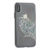 Чехол-накладка KINGXBAR для iPhone XS (5.8) пластик со стразами Swarovski 49F серебристый (Лань)