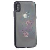Чехол-накладка KINGXBAR для iPhone X (5.8) пластик со стразами Swarovski 49F черный (Журавль)