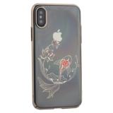 Чехол-накладка KINGXBAR для iPhone XS (5.8) пластик со стразами Swarovski 49F золотистый (Рыбка)