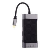 Переходник Baseus Square Desk HUB (CATXF-AOG) 87W Type-C to USB3.0x3/ HDMI/ Type-C/ TF/ SD/ VGA для MacBook Графитовый