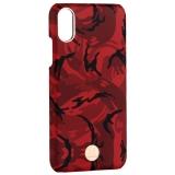 Чехол-накладка KINGXBAR для iPhone XS (5.8) пластик со стразами Swarovski (Красный камуфляж)