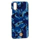 Чехол-накладка KINGXBAR для iPhone XS (5.8) пластик со стразами Swarovski (Синий камуфляж)