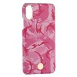 Чехол-накладка KINGXBAR для iPhone XS (5.8) пластик со стразами Swarovski (Розовый камуфляж)