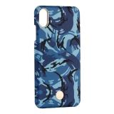 Чехол-накладка KINGXBAR для iPhone XS Max (6.5) пластик со стразами Swarovski (Синий камуфляж)