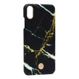 Чехол-накладка KINGXBAR для iPhone XS Max (6.5) пластик со стразами Swarovski (Мрамор-черный)