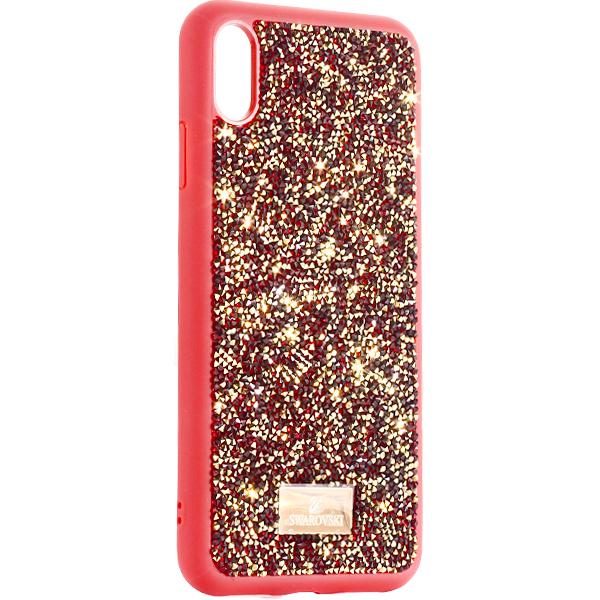 Чехол-накладка силиконовая со стразами SWAROVSKI Crystalline для iPhone XS Max (6.5) Красный №2