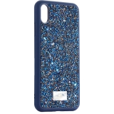 Чехол-накладка силиконовая со стразами SWAROVSKI Crystalline для iPhone XS Max (6.5) Темно-синий №3