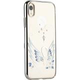 Чехол-накладка KINGXBAR для iPhone XR (6.1) пластик со стразами Swarovski 49F Лебединая Любовь сереберстый
