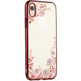 Чехол-накладка KINGXBAR для iPhone XR (6.1) пластик со стразами Swarovski 49F (розовые цветы) красный
