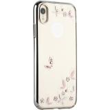 Чехол-накладка KINGXBAR для iPhone XR (6.1) пластик со стразами Swarovski 49F (Розовые бабочки) серебристый