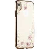 Чехол-накладка KINGXBAR для iPhone XR (6.1) пластик со стразами Swarovski 49F (розовые цветы) золотистый