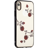 Чехол-накладка KINGXBAR для iPhone XR (6.1) пластик со стразами Swarovski 49F (Красные розы) черный