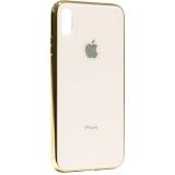 Чехол-накладка для iPhone XS Max (6.5) стеклянный имитация задней крышки Золотой