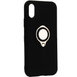 Чехол-накладка для iPhone XS (5.8) силиконовый с кольцом и металлической пластиной для магнитных держателей Черный