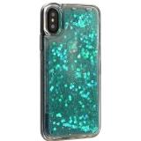 Чехол-накладка для iPhone XS (5.8) силиконовый с бирюзовыми плавающими блестками Прозрачный