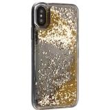 Чехол-накладка для iPhone XS (5.8) силиконовый с золотыми плавающими блестками Прозрачный