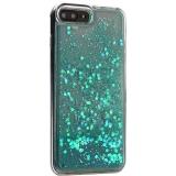 Чехол-накладка для iPhone 8 Plus (5.5) силиконовый с бирюзовыми плавающими блестками Прозрачный