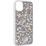 Чехол-накладка силиконовая со стразами SWAROVSKI Crystalline для iPhone 11 (6.1) Светло-серый №2