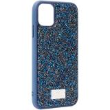 Чехол-накладка силиконовая со стразами SWAROVSKI Crystalline для iPhone 11 (6.1) Темно-синий №3