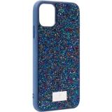 Чехол-накладка силиконовая со стразами SWAROVSKI Crystalline для iPhone 11 (6.1) Темно-синий №5