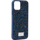 Чехол-накладка силиконовая со стразами SWAROVSKI Crystalline для iPhone 11 Pro (5.8) Темно-синий №3