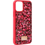 Чехол-накладка силиконовая со стразами SWAROVSKI Crystalline для iPhone 11 Pro Max (6.5) Красный №5