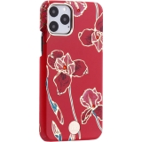 Чехол-накладка KINGXBAR для iPhone 11 Pro (5.8) пластик со стразами Swarovski (Красные цветы)