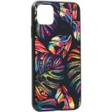 Чехол-накладка закаленное стекло Deppa Glass Case D-87266 для iPhone 11 Pro Max (6.5) 2.0мм Листья