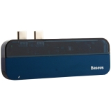 Переходник Baseus Transparent Series 5в1 (CAHUB-TSO3) Dual Type-C to USB3.0x2/Type-Cx2/ 4K HDMI для MacBook Синий