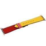 Ремешок кожаный COTEetCI W36 Fashoin Leather (WH5260-44-ACR) для Apple Watch 44 мм (short) Желтый-Красный