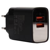 Адаптер питания Baseus Mirror Lake 18W Dual QC Digital Display Quick Charger A+A EU (2USB: 5V 3.0A Max) CCJMHA-A01 Черный