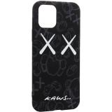 Чехол-накладка силикон Luxo для iPhone 11 Pro (5.8) 0.8мм с флуоресцентным рисунком KAWS Черный