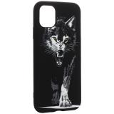 Чехол-накладка силикон Luxo для iPhone 11 (6.1) 0.8мм с флуоресцентным рисунком Волк Черный