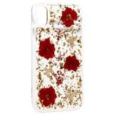 Чехол-накладка силиконовая K-Doo Flowers TPU+Dried Flowers+Lucite для iPhone XR (6.1) Красная