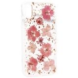 Чехол-накладка силиконовая K-Doo Flowers TPU + Dried Flowers + Lucite для iPhone XS (5.8) Розовая