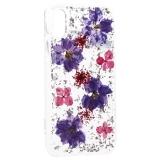 Чехол-накладка силиконовая K-Doo Flowers TPU+Dried Flowers+Lucite для iPhone XR (6.1) Сиреневая