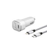 Автомобильное зарядное устройство Deppa (MFI) USB + USB Type-C: (PD 3.0 D-11292 18 Вт) & Usb-кабель Type-C-Lightning нейлон Белый