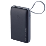 Аккумулятор внешний универсальный Deppa NRG Cable 4в1 10000 mAh - 2.1A D-33561, дата-кабели Type-C, Lightning, Micro-USB Черный