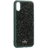 Чехол-накладка силиконовая со стразами SWAROVSKI Crystalline для iPhone XS (5.8) Темно-зеленый №4
