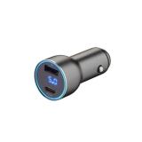 Автомобильное зарядное устройство Deppa D-11294 USB A + USB-C PD QC3.0 36W дисплей алюминий Графитовый
