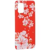 Чехол-накладка силикон Luxo для Samsung A71 0.8мм с флуоресцентным рисунком Цветы Розовый