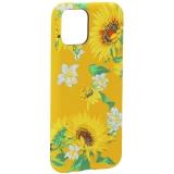 Чехол-накладка силикон Luxo для iPhone 11 Pro (5.8) 0.8 мм с флуоресцентным рисунком Цветы Желтый