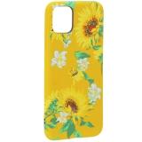 Чехол-накладка силикон Luxo для iPhone 11 Pro Max (6.5) 0.8 мм с флуоресцентным рисунком Цветы Желтый