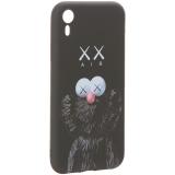 Чехол-накладка силикон Luxo для iPhone XR (6.1) 0.8 мм с флуоресцентным рисунком KAWS Черный