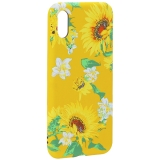 Чехол-накладка силикон Luxo для iPhone X (5.8) 0.8 мм с флуоресцентным рисунком Цветы Желтый