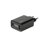 Адаптер питания Deppa PD Wall charger 3.0А QC 3.0 D-11395 (USB A + USB-C) 27W дисплей Черный