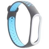 Сменный ремешок Xiaomi Mi Band 4/ 3 перфорированный Nike Style (гипоаллергенный силикон) Черно-голубой