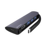Переходник Deppa Type-C Hub 5в1 (73125) Type-C to USB3.0x3/ HDMI/ Type-C Power Delivery для MacBook Графитовый