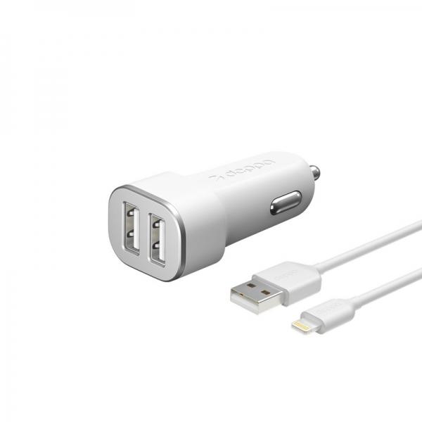 Автомобильное зарядное устройство Deppa Car charger 2.4A MFI D-11291, дата-кабель 8-pin Lightning 1.2m 12/24V (2USB: 5V/2.4A) Белый